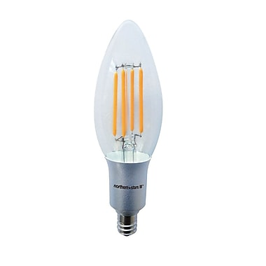 Northern Stars 80032 LED Candelabra B10 4W, Filament, Dimmable, Clear, Silver