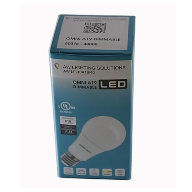 Northern Stars 80078 LED Light Bulb, A19 10W, Dimmable, Frosted, White, 2/Pack