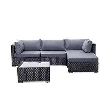 Beliani SANO Sectional Outdoor Sofa Set, Modern Black Wicker Furniture