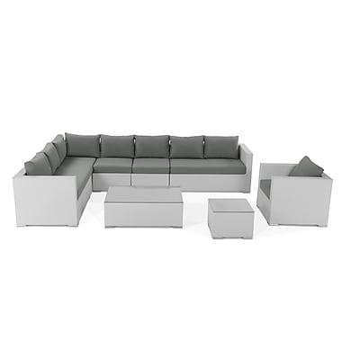 Beliani – Ensemble de salon extérieur modulaire en poly rotin blanc, canapé d'angle droit, TTG
