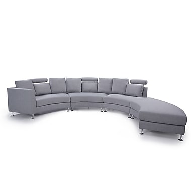 Beliani ROTUNDE Round Sofa, Sectional Settee, 7 Seater, Upholstered, Light Grey
