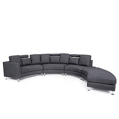 Beliani ROTUNDE Round Sofa, Sectional Settee, 7 Seater, Upholstered, Grey