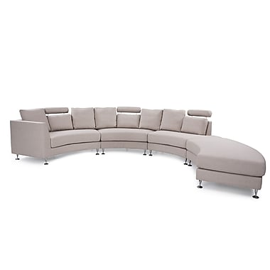 Beliani ROTUNDE Round Sofa, Sectional Settee, 7 Seater, Upholstered, Beige