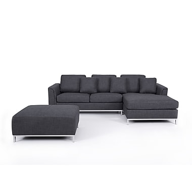 Beliani OSLO Corner L, Sectional Sofa, Couch, 4 Seater, Upholstered, Grey