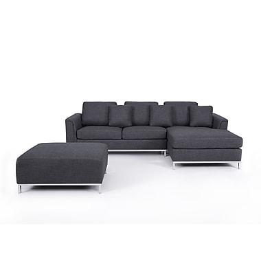 Beliani – Canapé d'angle droit OSLO, ensemble modulaire, canapé, 4 places, revêtement en tissu, gris