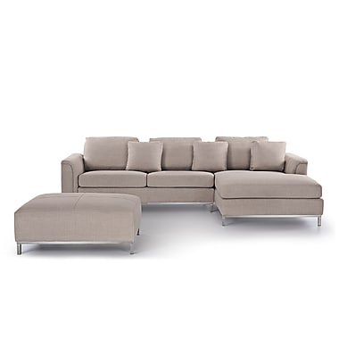 Beliani OSLO Corner L, Sectional Sofa, Couch, 4 Seater, Upholstered, Beige
