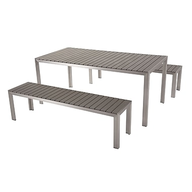 Beliani NARDO Modern Outdoor Dining Set, Table and Benches Poly Wood, Grey