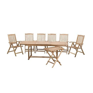 Beliani RIVIERA Garden Solid Wood Set, Table, 6 Chairs, Tea Table