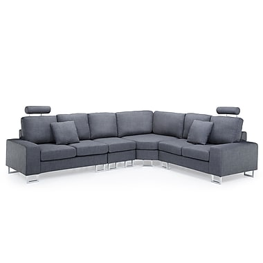 Beliani STOCKHOLM Corner, Sectional Sofa, Couch, Upholstered, Grey