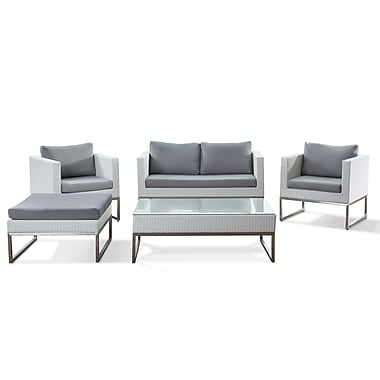 Beliani CREMA White Wicker Conversation Set, Modern Outdoor Furniture