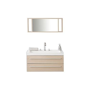 Beliani BARCELONA Wall-Mounted Single Bathroom Vanity, 2 Drawers, Beige