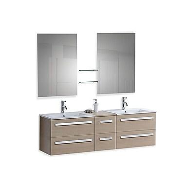 Beliani – Meuble-lavabo de salle de bain MADRID fixé au mur, 6 tiroirs, beige
