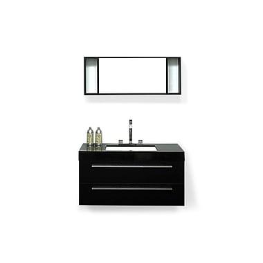 Beliani BARCELONA Wall-Mounted Single Bathroom Vanity, 2 Drawers, Black