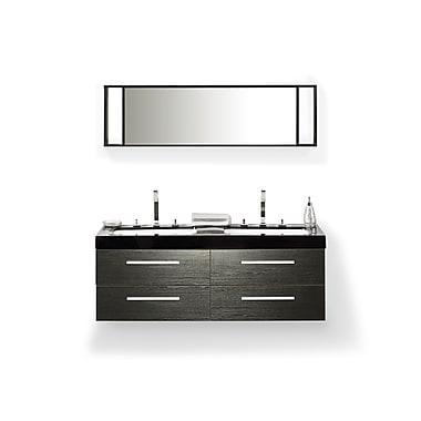 Beliani – Meuble-lavabo de salle de bain MALAGA fixé au mur, 4 tiroirs, noir