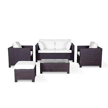 Beliani MILANO Resin Wicker Conversation Set, Outdoor Sofa Patio Furniture