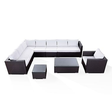 Beliani XXL Sectional Outdoor Lounge Set, Modern Resin Wicker Furniture