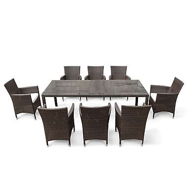Beliani ITALY 220 Outdoor Dining Set, Resin Wicker Table with 8 Chairs