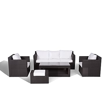 Beliani ROMA Contemporary Outdoor Sofa Set, Resin Wicker Furniture