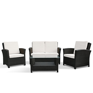 Beliani RIMINI Outdoor Sofa Set, Rattan Wicker Garden Furniture