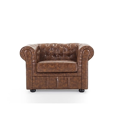 Beliani CHESTERFIELD Leather Armchair, Quilted Club Chair, Antique Brown