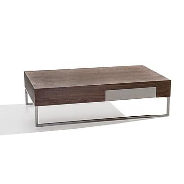 Beliani – Table à café GUARDA, un tiroir, cadre en aluminium, 120 x 70 cm, noyer