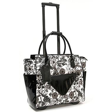 Cabrelli & Co. – Sac pour ordinateur portatif Camilla Clutch, à roulettes, 15 po, noir/blanc