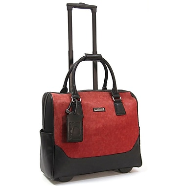 Cabrelli & Co. – Sac pour ordinateur portatif Megan Meadow, à roulettes, 15 po, rouge
