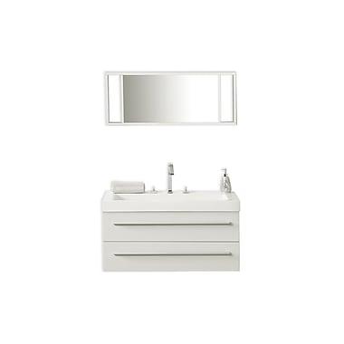 Beliani – Meuble-lavabo de salle de bain BARCELONA fixé au mur, 2 tiroirs, blanc