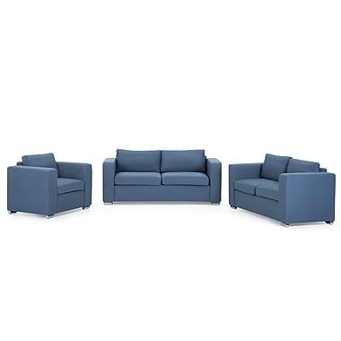 Beliani HELSINKI Upholstered Sofa Set, 3 Seater, 2 Seater, Arm Chair, Blue Fabric