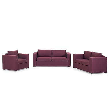 Beliani HELSINKI Upholstered Sofa Set, 3 Seater, 2 Seater, Arm Chair, Burgundy Fabric