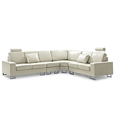 Beliani STOCKHOLM Left or Right Handed Corner Sofa, Sectional Settee, Beige