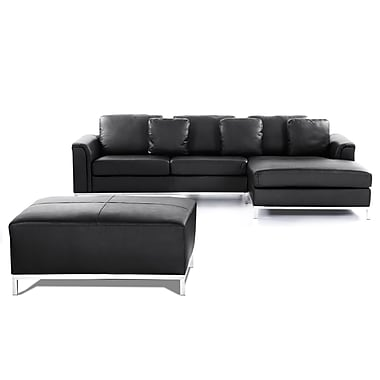 Beliani OSLO Corner Sofa L, Genuine Leather with Ottoman, Sectional Suite, Black