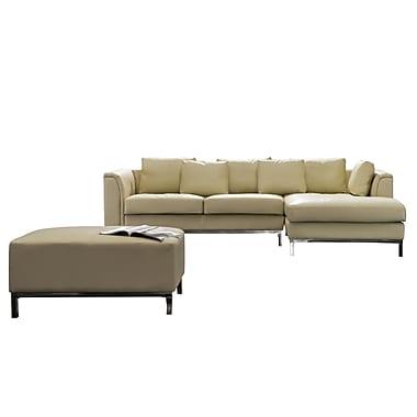 Beliani – Canapé d'angle droit OSLO, en cuir véritable avec pouf, ensemble modulaire beige