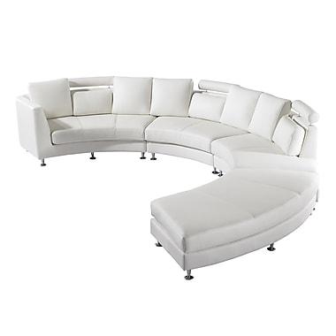 Beliani – Canapé ROTUNDE en cuir véritable, blanc
