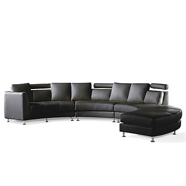 Beliani ROTUNDE Round Leather Sofa, Sectional Settee, 7 Seater, Black
