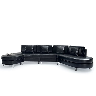 Beliani COPENHAGEN Leather Sofa, 5 Seater, Corner Couch, Sectional Settee, Black