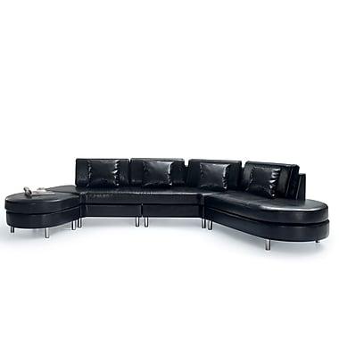 Beliani – Canapé COPENHAGEN en cuir, 5 places, canapé d'angle, pouf, noir
