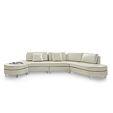 Beliani – Canapé COPENHAGEN en cuir, 5 places, canapé d'angle, pouf, beige