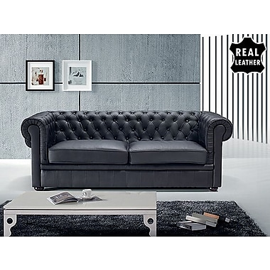 Beliani CHESTERFIELD Two Seater Sofa, Loveseat, Quilter Couch, Black