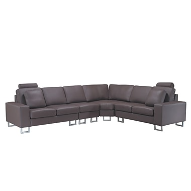 Beliani STOCKHOLM Left or Right Handed Corner Sofa, Sectional Settee, Brown
