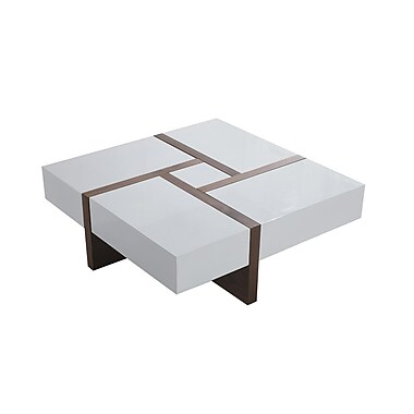 Beliani – Table à café EVORA, 4 tiroirs, 100 X 100 cm, blanc/noyer