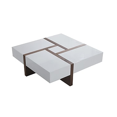 Beliani EVORA Coffee Table, 4 Drawers, 100 x 100 cm, White/Walnut