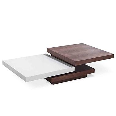Beliani AVEIRO Coffee Table, Swivel Panels, White/Walnut