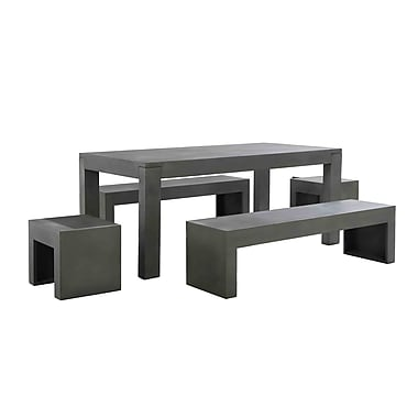 Beliani TARANTO Concrete Outdoor Dining Set, Table with Benches and Stools