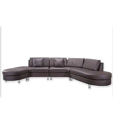 Beliani COPENHAGEN Leather Sofa, 5 Seater, Corner Couch, Sectional Settee, Brown