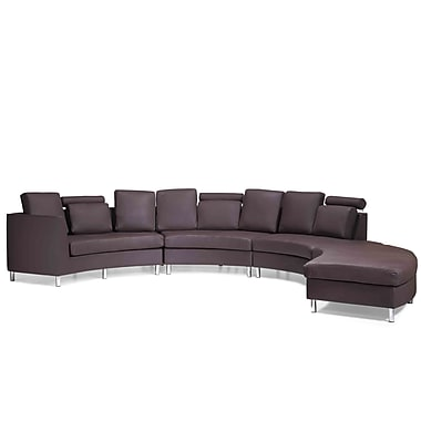 Beliani ROTUNDE Round Leather Sofa, Sectional Settee, 7 Seater, Brown