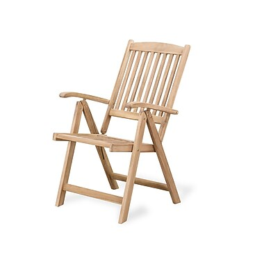 Beliani RIVIERA Teak Style Outdoor Dining Chair with Adjustable Backrest