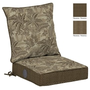 BombayOutdoors Palmetto Reversible Dining Chair Cushion; Mocha