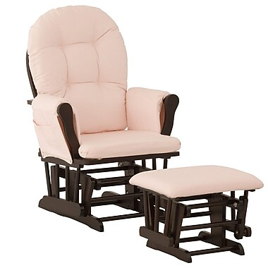 Stork Craft Hoop Glider and Ottoman, Espresso/Pink