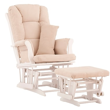 Stork Craft Tuscany Glider and Ottoman, White/Beige